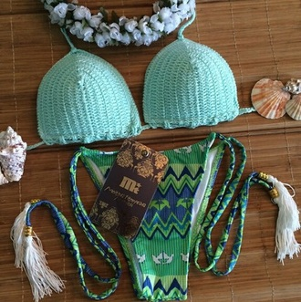 swimwear green swimwear aztec tassel bikini brazilian bikini triangle top side ties crocheted green