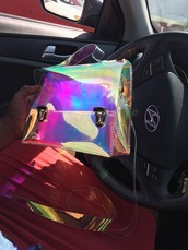 bag,purse,chrome,reflective,girly,girl