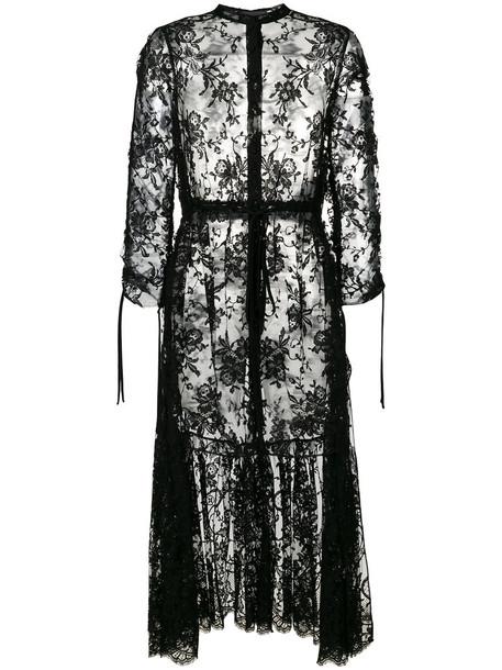 Alexander Mcqueen dress sheer women layered cotton black