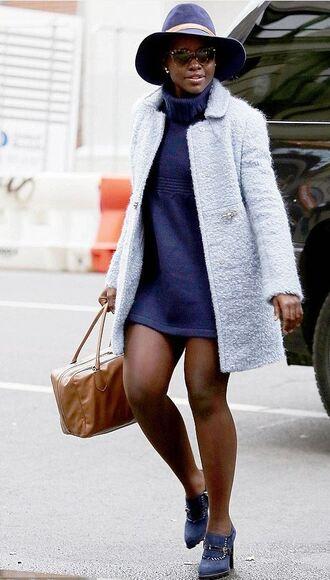 coat fall outfits hat shoes dress blue lupita nyong'o