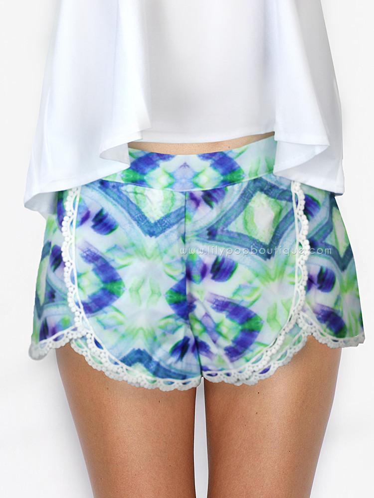Ikat lace trim shorts – lilypopboutique