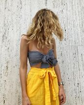 swimwear,tumblr,swimwear two piece,gingham swimsuit,skirt,yellow,yellow skirt