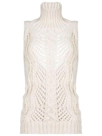 blouse sleeveless high women high neck nude wool top
