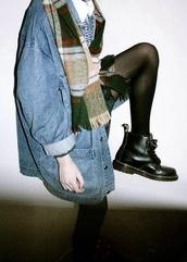 coat,jacket,vintage,denim,jeans,hipster,scarf,blouse,oversized,denim jacket,grunge,grunge jean jacket,shoes,black booties,grunge boots