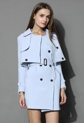chicwish,creamy blue,double breasted coat,twinset trench coat