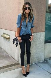 shoes,pointed toe pumps,denim shirt,black sunglasses,pants,scarf,bag,black pumps,pointy heels,pointy toe pump,dorsay shoes,fashion,fall outfits,fall scarves