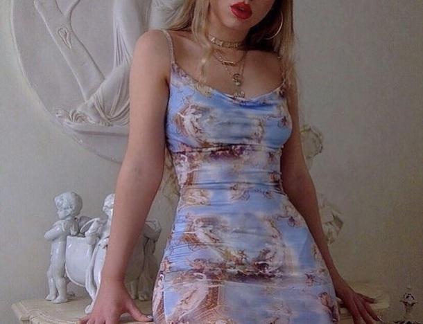 dress blue blue dress bodycon dress print roman art baby blue instagram mini dress short dress cute angelic blue dress renaissance painting renaissance dress god art hoe clouds