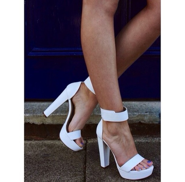Chunky Heel White Shoes