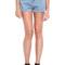 Romwe | rolled cuffs light-blue denim shorts, the latest street fashion