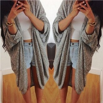 cardigan grey casual loose baggy fashion style sweater