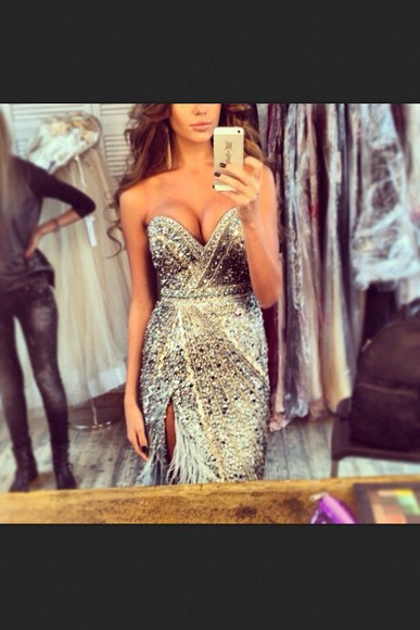 dress glitter prom dress expensive silver sequins silver dress strapless sweetheart neckline sequined bodice feather motif sparkly dress formal dress evening gown unique thigh high slit