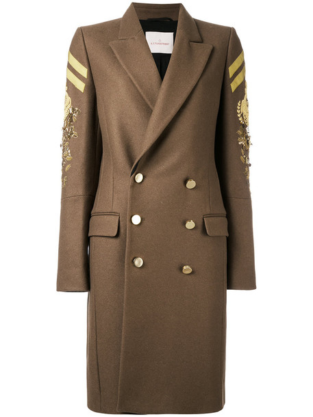 coat military coat double breasted women nude wool
