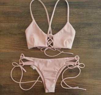 swimwear bikini summer beige pink
