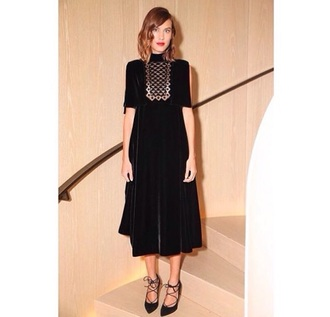 dress black style fashion grunge goth model alexa chung fashion vibe velvet dress midi dress fall dress