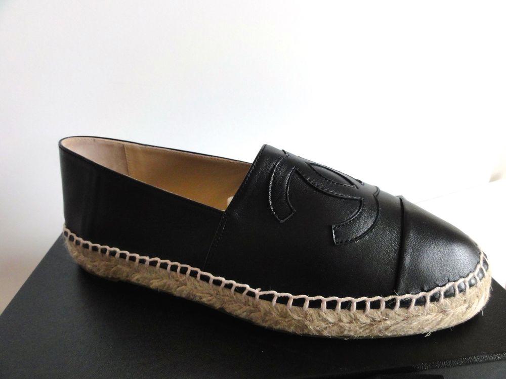 Chanel Espadrilles Black Lambskin Leather CC LOGO Flat Shoes New 40 / 10 NEW