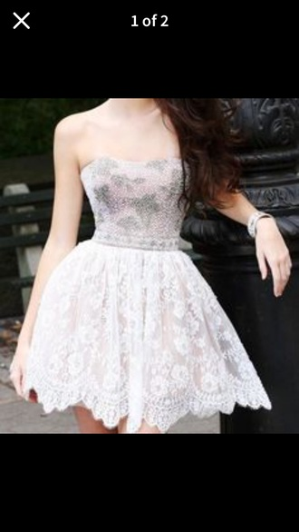 dress white  and sparkly