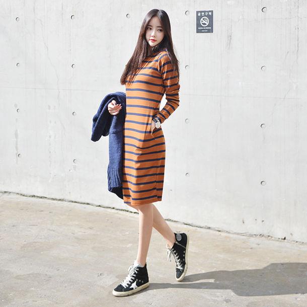 Dress Stripes One Piece Korean Fashion Korean Style Tumblr Striped Dress Blue Khaki
