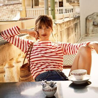 top jeanne damas fashionista french girl style blue white red outfit striped top shorts denim shorts bag straw bag