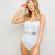 White Just Married Metallic Print Swimsuit