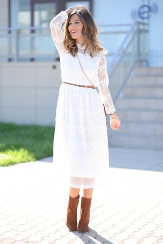 mi aventura con la moda blogger lace dress white lace dress white dress midi dress fall dress