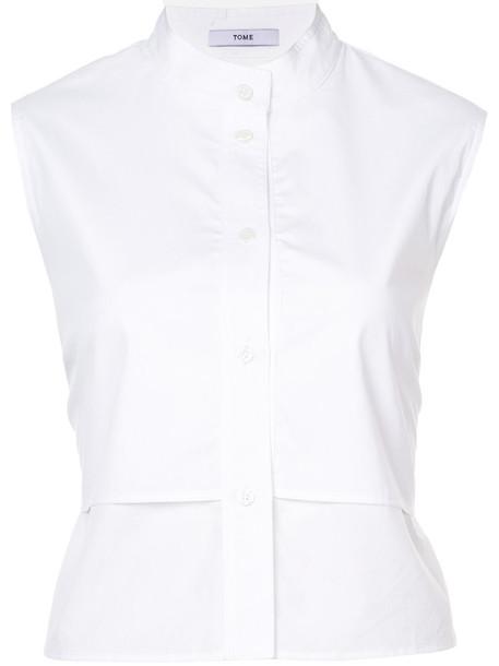 Tome shirt sleeveless women layered white cotton top
