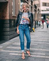 shoes,sandals,high heel sandals,jeans,blouse,leather jacket,biker jacket