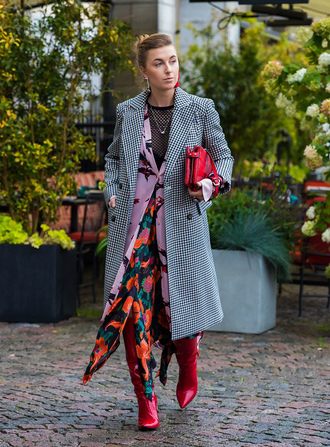 coat skirt floral skirt stockholm fashion week streetstyle grey coat maxi skirt floral boots red boots bag gingham