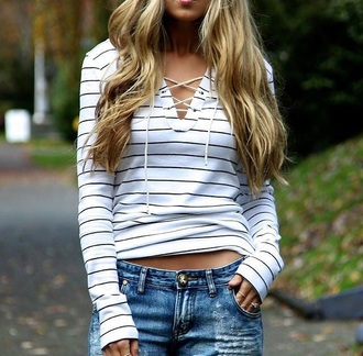 sweater fall outfits white stripes long sleeves casual trendy cool lace up cute lace up jumper