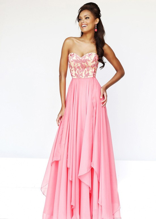 Fashion cheap coral strapless embroidered chiffon long dress by prom