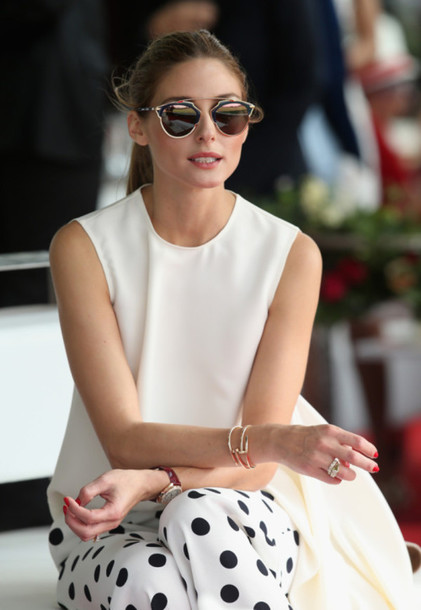 sunglasses olivia palermo classy sunnies mirrored sunglasses accessories Accessory dior so real dior sunglasses celebrity fashionista top white top sleeveless top pants polka dot pants polka dots bracelets