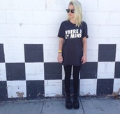 t-shirt,the pixies,where is my mind,Beatrice Miller,sunglasses,hipster,black leggings,shirt,clothes,beamiller,rock