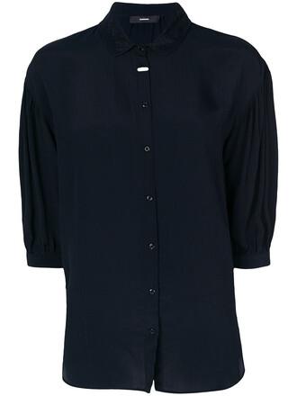 shirt collared shirt women lace blue top