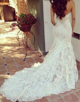 dress wedding dress maxi dress long dress white dress lace dress strapless dress lace mermaid white mermaid wedding dress gown lace wedding dress ivory dress strapless long train dress