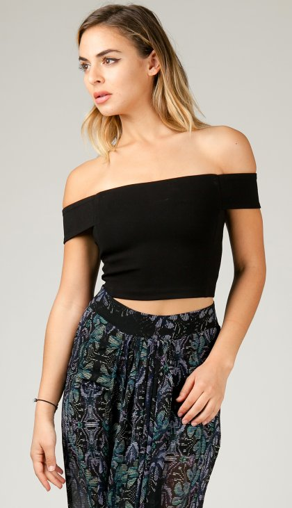 Straight off the shoulder crop top