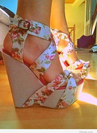 shoes wedges floral