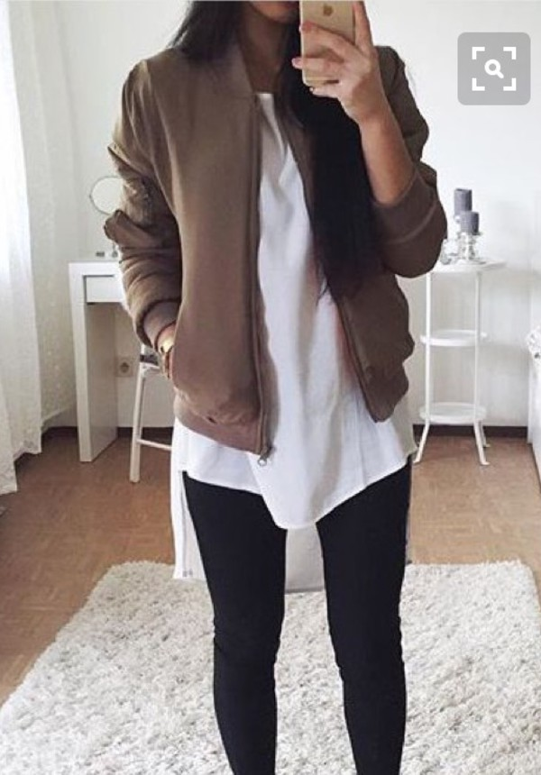 Jacket bomber jacket brown tumblr pinterest tumblr outfit shirt jeans shoes sneakers ...