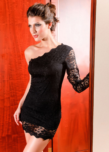 Lovely One Shoulder Long Sleeve Black Lace Above Knee Dress | martofchina.com