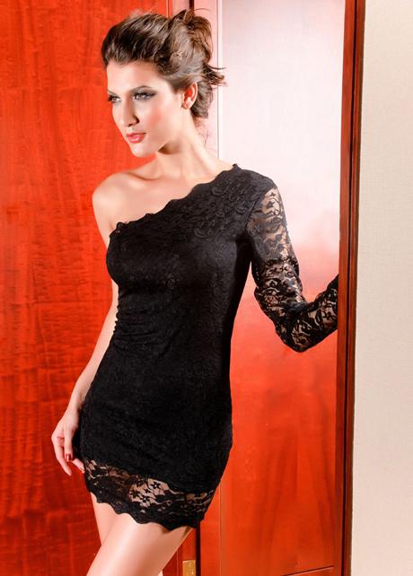 Lovely One Shoulder Long Sleeve Black Lace Above Knee Dress | martofchina.com