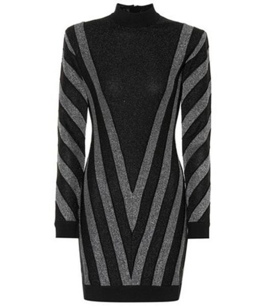 Balmain Striped metallic minidress in black