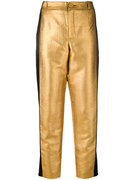 Lanvin - straight leg trousers - women - Acrylic/Acetate/Polyester/Viscose - 42, Grey, Acrylic/Acetate/Polyester/Viscose in metallic