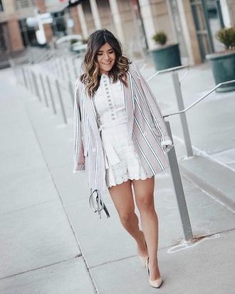 romper white romper lace romper blazer pink blazer striped blazer pumps stripes high heel pumps spring outfits