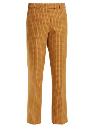 geometric cotton pattern green pants