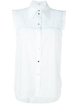 shirt sleeveless shirt sleeveless embroidered white top