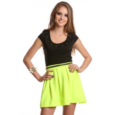 Scuba Skater Skirt Neon Green - oBaz