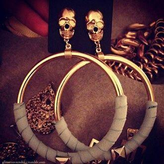 jewels skull body jewelry hoop earrings classy and fabulous dope