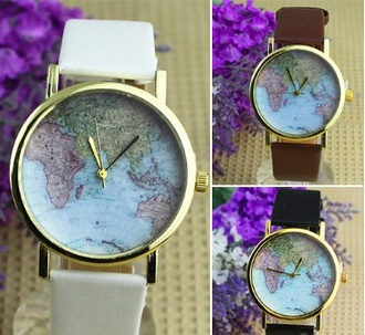 jewels watch girly watch map print brown white black hipster girly hipster watch casio cute watch worldmap watch casual