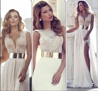 dress long prom dress skirt prom dress gorgeous pretty white white lace long belt golden metal white dress white lace dress wedding dress golden belt white gold dress long elegant metallic waist off-white lace dress