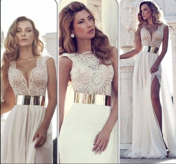 dress golden belt white lace dress wedding dress long prom dresses skirt prom dress gorgeous pretty white white lace long belt golden metal white dress white gold dress long elegant