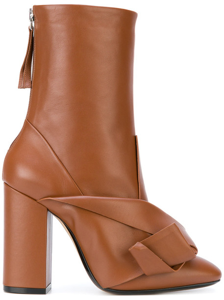 No21 bow women embellished leather brown shoes