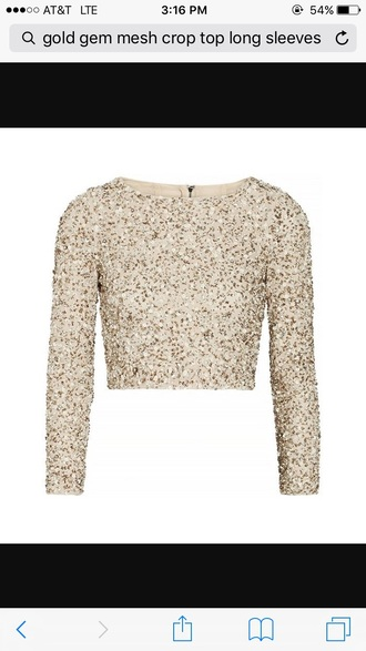 top gold sequins gold cropped